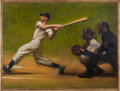"""Baseball Collectibles:Others, 1974 """"The Wide Swing"""" Original Painting by Harvey Dinnerstein...."""