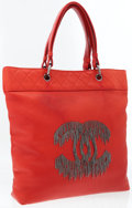 Luxury Accessories:Accessories, Chanel Red Leather Cabernet Rock Tote with Fringe. ...