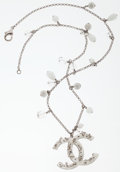 Luxury Accessories:Accessories, Chanel Silver, Crystal, & White Beaded Necklace with Large CC Motif. ...