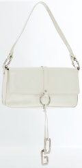 Dolce & Gabbana White Patent Leather Shoulder Bag with DG Charm