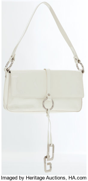e85fb58b4e Dolce   Gabbana White Patent Leather Shoulder Bag with