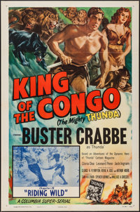 """King of the Congo (Columbia, 1952). One Sheet (27"""" X 41"""") Chapter 12 -- """"Riding Wild."""" Serial"""