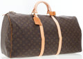 Luxury Accessories:Accessories, Louis Vuitton Brown Coated Canvas Monogram Keepall Bag. ...