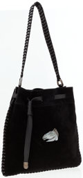 Luxury Accessories:Bags, Kieselstein Cord Black Suede Shoulder Bag with Leather Whipstitch Detail. ...