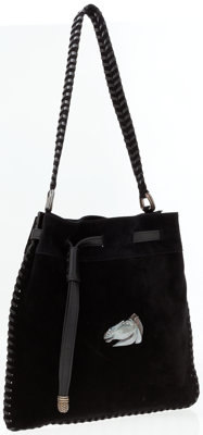 Kieselstein Cord Black Suede Shoulder Bag with Leather Whipstitch Detail
