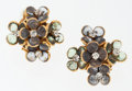 Luxury Accessories:Accessories, Chanel Gold Flower Cluster Earrings with Blue & Green Stones. ...