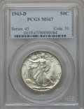 Walking Liberty Half Dollars: , 1943-D 50C MS67 PCGS. PCGS Population: (371/4). NGC Census: (301/7). CDN: $400 Whsle. Bid for problem-free NGC/PCGS MS67. M...