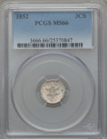 Three Cent Silver: , 1852 3CS MS66 PCGS. PCGS Population (89/14). NGC Census: (98/14).Mintage: 18,663,500. Numismedia Wsl. Price for problem fr...