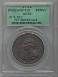 Colonials: , Undated PENNY Washington Liberty & Security Penny AU58 PCGS.PCGS Population (18/62). NGC Census: (9/17). ...