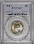 Washington Quarters: , 1945-S 25C MS67 PCGS. Knob S. Beautifully patinated in jade-greenand caramel-brown, aside from ivory-gray across the portr...