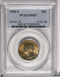 Washington Quarters: , 1953-S 25C MS67 PCGS. Marvelous olive-brown and powder-blueiridescence illuminates this shimmering and splendidly preserve...