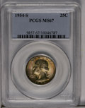 Washington Quarters: , 1954-S 25C MS67 PCGS. A deeply toned Superb Gem with intense goldand iridescent toning, slightly lighter on the reverse. P...