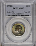 Washington Quarters: , 1954-S 25C MS67 PCGS. Imposing emerald-green and rose swirlsconsume the obverse, while the reverse retains its initial bri...