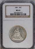 Seated Half Dollars: , 1861 50C MS61 NGC. A crisply struck Civil War Seated half withsubdued luster and light gold peripheral toning. Major marks...