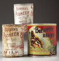"Antiques:Decorative Americana, 3 TIN CANS - . a) Two ""Borden's Pioneer"" Brand Milk, rare; minergraphic on label; 4½"" tall; poor condition but graphic... (Total: 3Items)"