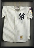 Autographs:Jerseys, Yogi Berra Signed Jersey. Exceptional display places a beautifulMitchell & Ness throwback New York Yankee pinstripe comple...