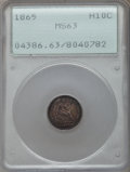 Seated Half Dimes: , 1865 H10C MS63 PCGS. PCGS Population (7/27). NGC Census: (9/27). Mintage: 13,000. Numismedia Wsl. Price for problem free NG...