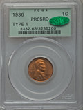 Proof Lincoln Cents, 1936 1C Type One -- Satin Finish PR65 Red PCGS. CAC....