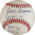 "Baseball Collectibles:Balls, Hank Aaron and Al Downing ""HR 715"" Inscribed Dual SignedBaseball...."