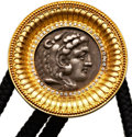 Ancients:Ancient Lots  , Ancients: ANCIENT COIN JEWELRY. Alexander III the Great (336-323 BC). AR tetradrachm in gold bolo tie setting....