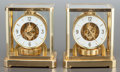 Decorative Arts, French, A PAIR OF LE COULTRE BRASS ATMOS CLOCKS. 20th century. Marks:JAEGER LE COULTRE, ATMOS, SWISS MADE; LE COULTRE, SWISS.9... (Total: 2 Items)