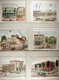 Books:Prints & Leaves, [California] Lot of Six Hand-Colored Lithographs of Sacramento,California Residences and Businesses. Uniformly matted to an...