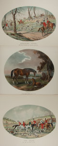 """Books:Prints & Leaves, [Equestrian Prints] Lot of Three Beautiful English ColorLithographs Featuring Horses. 14"""" x 12"""" and 19"""" x 13.5"""". Sighttoni..."""