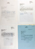 """Autographs:Authors, [Colin Wilson]. Lot of Four Typed Letters Signed """"Colin Wilson"""" to Noted American Book Collector Rolland Comstock. E..."""