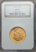 Indian Eagles: , 1914 $10 MS60 NGC. NGC Census: (44/1752). PCGS Population(20/1506). Mintage: 151,050. Numismedia Wsl. Price for problemfr...
