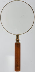 Books:Furniture & Accessories, [Gentleman's Library]. Large Magnifying Glass. Wooden handle, withaluminum frame. A handsome example of an essential artifa...