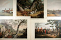 "Books:Prints & Leaves, Group of Five Color Prints Depicting Sporting Scenes. 22"" x 17"".London: Edward Orme, 1807. Includes hunting and horse racin..."
