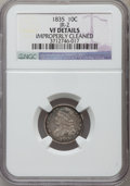 Bust Dimes, 1835 10C -- Improperly Cleaned -- NGC Details. VF. JR-2. NGCCensus: (7/464). PCGS Population (22/564). Mintage: 1,410...