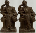 "Books:Americana & American History, Pair of bookends depicting Abraham Lincoln. 4"" x 5"" x 8.5"".Patinated metal. Unmarked. Very good.... (Total: 2 Items)"