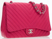 Chanel Lipstick Pink Lambskin Leather Chevron Maxi Single Flap Bag with Silver Hardware