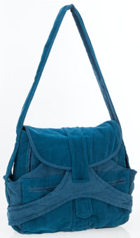Balenciaga Teal Corduroy Hobo Bag