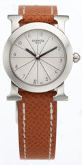 Luxury Accessories:Accessories, Hermes Stainless Steel Round H Watch with Gold Courchevel Leather Band. ...