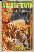 """Movie Posters:Mystery, A Man Betrayed (Republic, 1941). One Sheet (27"""" X 41""""). Mystery....."""