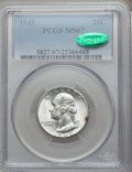 Washington Quarters: , 1945 25C MS67 PCGS. CAC. PCGS Population (20/1). NGC Census:(84/3). Mintage: 74,372,000. Numismedia Wsl. Price for problem...