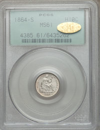1864-S H10C MS61 PCGS. Gold CAC. PCGS Population (2/21). NGC Census: (4/24). Mintage: 90,000. Numismedia Wsl. Price for...