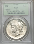 Peace Dollars: , 1921 $1 MS64 PCGS. PCGS Population (3763/1377). NGC Census:(3398/1229). Mintage: 1,006,473. Numismedia Wsl. Price for prob...