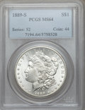 Morgan Dollars: , 1889-S $1 MS64 PCGS. PCGS Population (2132/653). NGC Census:(1267/278). Mintage: 700,000. Numismedia Wsl. Price for proble...