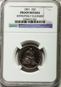 Proof Seated Quarters: , 1891 25C -- Improperly Cleaned -- NGC Details. Proof. NGC Census:(2/169). PCGS Population (2/183). Mintage: 600. Numismedi...