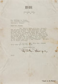 "Autographs:Celebrities, Bob Hope Typed Letter Signed. One page, 7.25"" x 10.5"", on hispersonal letterhead, n. p., February 10, 1940, to journalist W..."