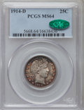 Barber Quarters: , 1914-D 25C MS64 PCGS. CAC. PCGS Population (79/65). NGC Census:(78/37). Mintage: 3,046,000. Numismedia Wsl. Price for prob...