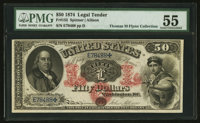 Fr. 152 $50 1874 Legal Tender PMG About Uncirculated 55