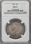 Bust Half Dollars, 1834 50C Small Date, Small Letters MS63 NGC. O-116, R.1....