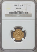 Liberty Quarter Eagles: , 1852-O $2 1/2 XF45 NGC. NGC Census: (63/378). PCGS Population(57/110). Mintage: 140,000. Numismedia Wsl. Price for problem...