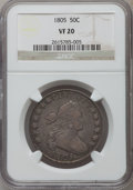 Early Half Dollars: , 1805 50C VF20 NGC. NGC Census: (19/270). PCGS Population (43/309).Mintage: 211,722. Numismedia Wsl. Price for problem free...