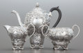 Silver Holloware, British:Holloware, A THREE PIECE E. VINERS SILVER AND SILVER GILT REPOUSSÉ TEASERVICE. E. Viners Ltd., Sheffield, England, circa 1935-1936. Ma...(Total: 3 Items)