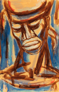 GERARD SEKOTO (South African, 1913-1993) Portrait of a Man, 1963 Watercolor on paper laid on masonit